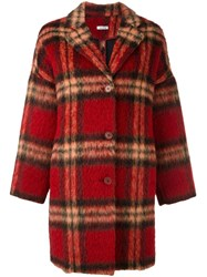 P.A.R.O.S.H. Checked Coat Red