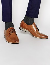 River Island Leather Formal Derby Shoes In Tan