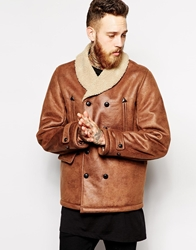 Asos Leather Look Jacket With Faux Shearling Tan