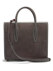Christian Louboutin Paloma Medium Leather And Suede Tote Light Grey