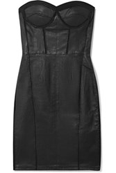 Rta Gwenyth Strapless Mesh Paneled Leather Mini Dress Black