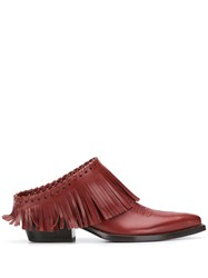 Sartore Fringed Mules Red
