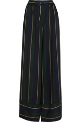 Sacai Striped Voile Wide Leg Pants Navy