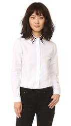 Holly Fulton Long Sleeve Shirt With Embroidered Collar Multi White