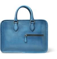 Berluti Un Jour Mini Polished Leather Briefcase Blue