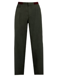 Kolor Pleat Front Straight Leg Cotton Trousers Dark Green