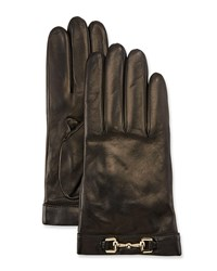 Portolano Napa Leather Cashmere Lined Gloves W Horsebit Black