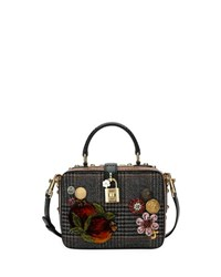 Dolce And Gabbana Soft Plaid Top Handle Bag Gray Pattern