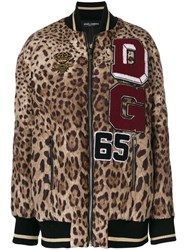 Dolce And Gabbana Leopard Print Bomber Jacket Nylon Polyester Brown