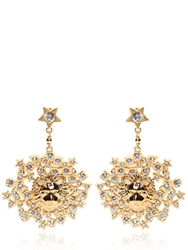 Versus Rhinestone And Gold Plated Lion Earrings