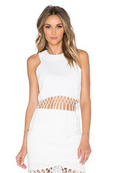 J.O.A. Sleeveless Fringe Crop Top Ivory