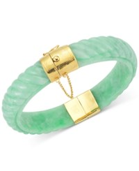 Macy's Dyed Jadeite Bangle Bracelet In 14K Gold Over Sterling Silver In Green Red Or Black