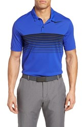 Nike Men's Mobility Speed Stripe Stretch Golf Polo Paramount Blue Flt Silver