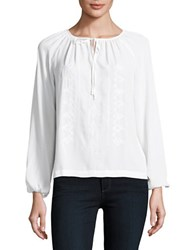 Lord And Taylor Petite Embroidered Peasant Blouse White