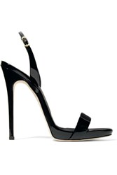 Giuseppe Zanotti Sophie Patent Leather Slingback Sandals Black