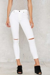 Nasty Gal Aline High Waisted Cropped Skinny Jeans White