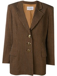 Gianfranco Ferre Vintage 1980'S Striped Blazer Brown