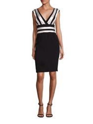 Kay Unger Stretch Satin Cocktail Dress Black White