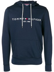 Tommy Hilfiger Logo Embroidered Hoodie Blue