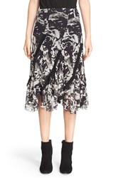 Women's Fuzzi Ruffle Trim Floral Print Tulle Skirt