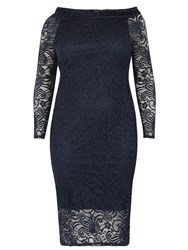 Samya Plus Size Bardot Lace Wiggle Dress Navy