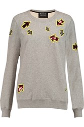 Markus Lupfer Embroidered Sequined Cotton Jersey Sweatshirt Gray
