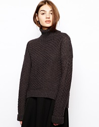 Bzr Roll Neck Jumper With Dipped Hem Charcoal