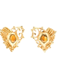 Christian Lacroix Vintage Clip On Earrings Metallic