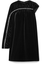 Christopher Kane One Sleeve Crystal Embellished Velvet Mini Dress Black