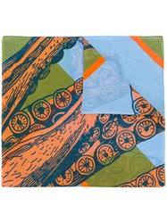 Odeeh Jump Print Scarf Silk Cotton Blue