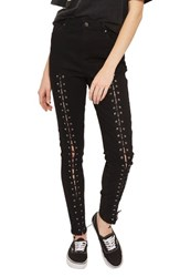 Topshop Women's Jamie Front Laced Skinny Jeans Black