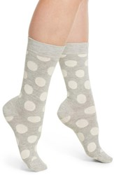 Happy Socks Big Dot Crew Grey White