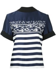 Carven Striped T Shirt Blue