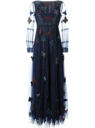 Valentino Butterfly Embellished Evening Dress Blue