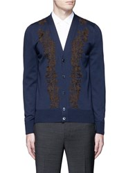 Alexander Mcqueen Floral Embroidered Wool Cardigan Blue