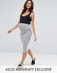 Asos Maternity Over The Bump Midi Pencil Skirt In Jersey Grey Marl