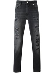 Alexander Mcqueen Distressed Slim Fit Jeans Grey
