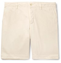 Mr P. Slim Fit Garment Dyed Peached Cotton Twill Bermuda Shorts Off White