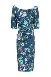 Jolie Moi Retro Floral Print Half Sleeve Dress Blue