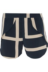 Toteme Split Printed Silk Crepe De Chine Shorts Navy