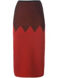 Jean Paul Gaultier Vintage Zig Zag Panelled Skirt Red