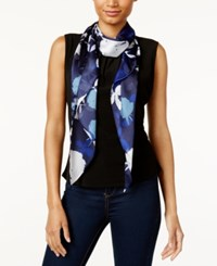 Vince Camuto Shadow Blooms Oblong Scarf Evening Blue
