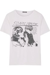 R 13 R13 Sonic Youth Printed Cotton And Cashmere Blend Jersey T Shirt White