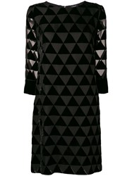 Clips Triangle Mosaic Sheer Dress Black