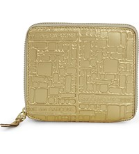 Comme Des Garcons Square Embossed Leather Wallet Gold Emb