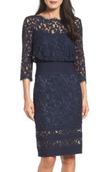 Tadashi Shoji Women's Pleat Waist Lace Blouson Dress Navy