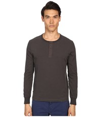 Jack Spade Sueded Long Sleeve Henley Washed Dark Grey Men's Long Sleeve Pullover Gray