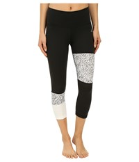 Adidas Performer Mid Rise 3 4 Tights W Terrazo Print Black White Matte Silver Women's Casual Pants Gold