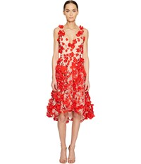 Marchesa Plunge High Low Cocktail W Flower Petals Red Women's Dress