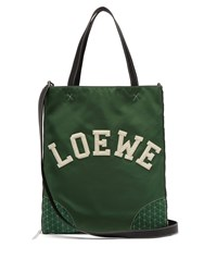 Loewe Sneaker Leather And Nylon Tote Bag Green
